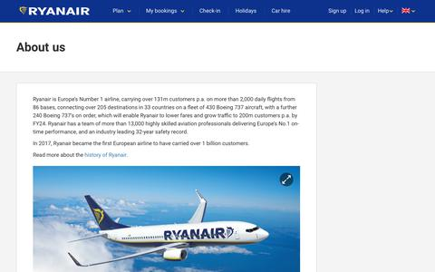 Screenshot of About Page ryanair.com - About us | Ryanair information - captured Aug. 31, 2017
