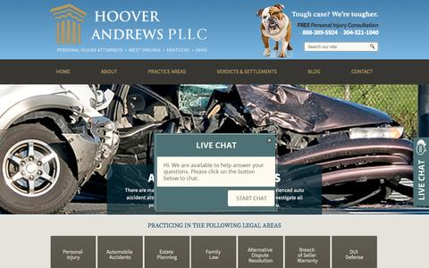 Screenshot of Home Page hooverandrews.com - Personal Injury Law Firm | Barboursville, WV | Hoover Andrews PLLC - captured May 22, 2017