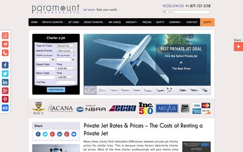 Screenshot of Pricing Page paramountbusinessjets.com - Private Jet Charter - Hourly Rental Rates & Prices - captured Sept. 19, 2014