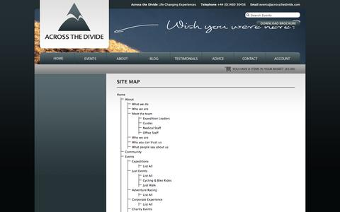 Screenshot of Site Map Page acrossthedivide.com - Across the Divide Corporate and Charity Experiences - captured Feb. 5, 2016