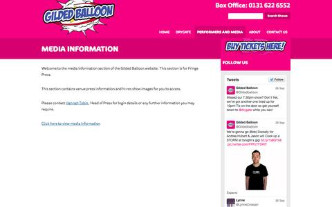 Screenshot of Press Page gildedballoon.co.uk - Media Information | Gilded Balloon - captured Sept. 30, 2014