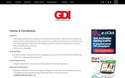 Screenshot of Terms Page globaldatinginsights.com - Terms & Conditions - Global Dating Insights - captured July 19, 2018
