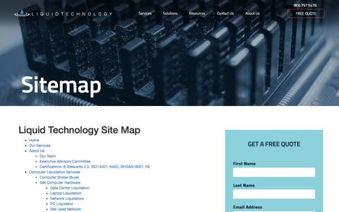 Screenshot of Site Map Page liquidtechnology.net - Liquid Technology | Sitemap - captured May 27, 2016