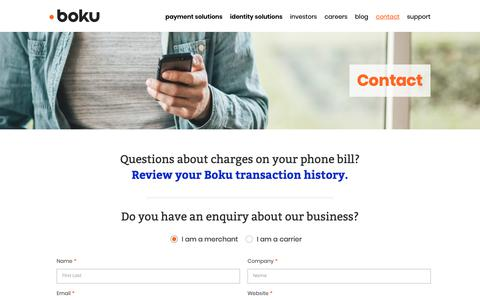 Screenshot of Contact Page boku.com - Contact – Boku Inc. - captured Feb. 6, 2019