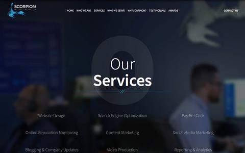 Screenshot of Services Page scorpion.co - Scorpion's Services | Small Business Marketing - captured April 1, 2018