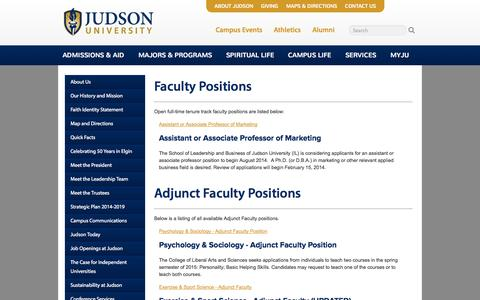Screenshot of Jobs Page judsonu.edu - Judson University, a Four Year Christian College in Elgin near Chicago. The Church at Work in Higher Education. - captured Oct. 6, 2014