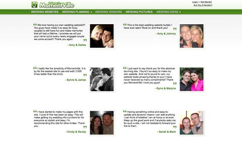 Screenshot of Testimonials Page momentville.com - Wedding Website Testimonials | Free Wedding Websites - captured Oct. 26, 2014