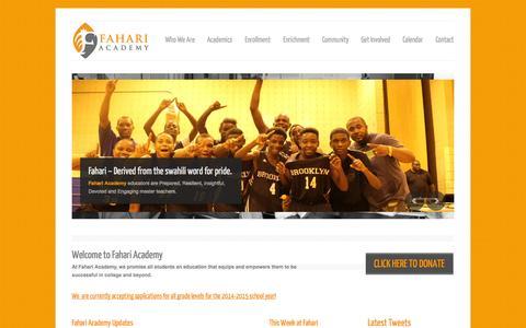 Screenshot of Home Page fahariacademy.org - Fahari Academy - captured Oct. 5, 2014