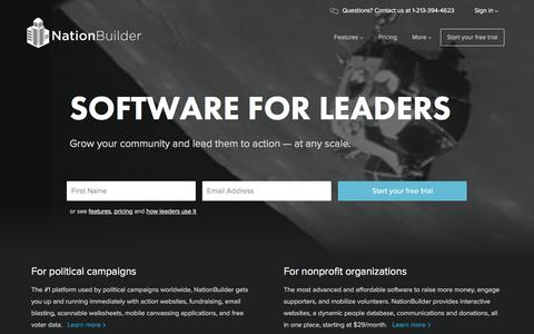 Screenshot of Home Page nationbuilder.com - NationBuilder: Software for leaders - captured Feb. 10, 2016