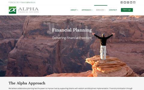 Screenshot of Services Page alphafa.com - Financial Planning | Alpha Financial Advisors | Charlotte, NC - captured Feb. 5, 2016