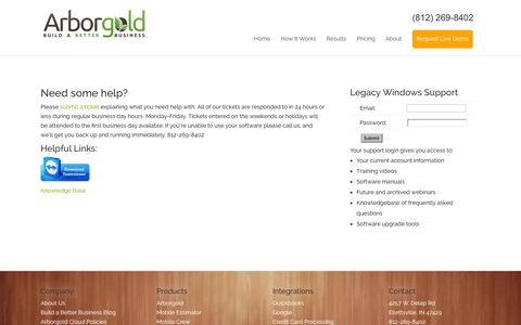 Screenshot of Support Page arborgold.com - Support - Lawn and Landscape Software - Arborgold - captured Oct. 4, 2014