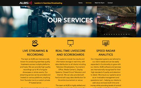 Screenshot of Services Page albs.tv - Services | ALBS.tv - captured July 28, 2018