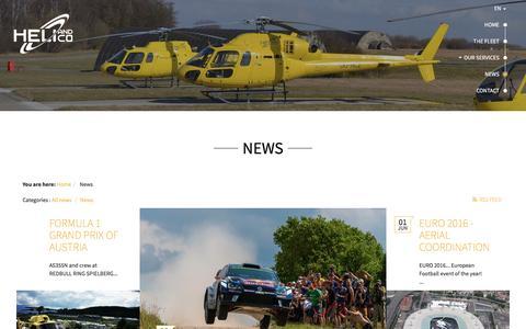 Screenshot of Press Page heliandco.com - News - captured July 13, 2016
