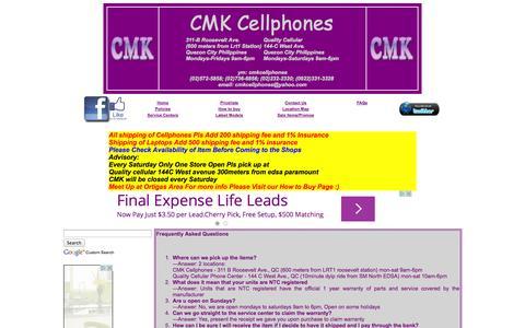 Screenshot of FAQ Page cmkcellphones.com - FAQ at cmk cellphones - captured Nov. 4, 2014