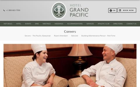 Screenshot of Jobs Page hotelgrandpacific.com - Apply Now - Jobs & Careers | Hotel Grand Pacific - captured July 18, 2018