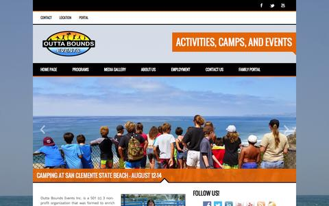 Screenshot of Home Page obevents.org - Activities, Camps, and Events - captured Aug. 12, 2015