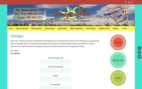 Screenshot of Contact Page tortugadelsol.com - Contact – Tortuga del Sol – Gay Palm Springs Clothing Optional Resort - captured Oct. 30, 2018