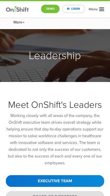 Screenshot of Team Page  onshift.com - Meet OnShift's Management Team & Board of Directors