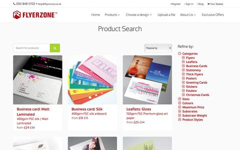 Screenshot of Products Page flyerzone.co.uk - Print flyers, leaflets, business cards, stationery and more | Flyerzone - captured Oct. 2, 2015