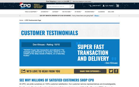 Screenshot of Testimonials Page cpooutlets.com - CPO Outlets | Testimonials | What Our Customer Are Saying - captured Nov. 20, 2018