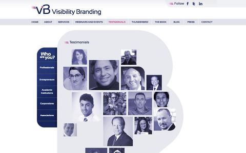 Screenshot of Testimonials Page visibilitybranding.fr - Testimonials | Visibility Branding - captured Oct. 9, 2014