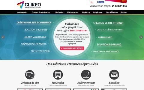 Screenshot of Home Page agence-clikeo.com - Création de site Internet, Agence Web à Paris - captured Oct. 2, 2014