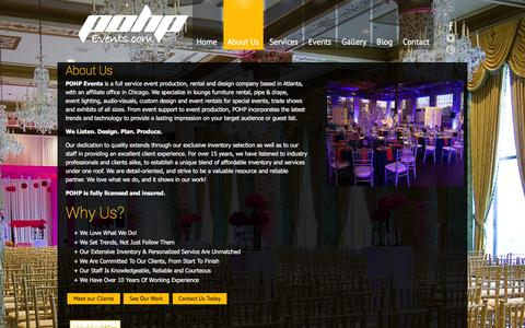 Screenshot of About Page pohpevents.com - Event Production and Rental Company Atlanta - POHP Events - captured Jan. 25, 2016