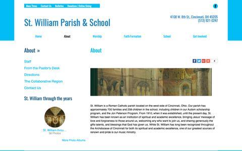 Screenshot of About Page saintwilliam.com - St. William | About | Cincinnati, OH - captured Oct. 31, 2018