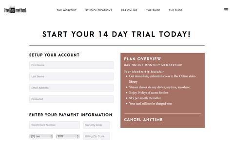 Screenshot of Trial Page barmethod.com - Signup - Bar Method - captured Oct. 5, 2017