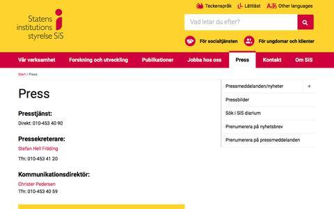 Screenshot of Press Page stat-inst.se - Press - SiS - Statens institutionsstyrelse - captured Oct. 25, 2017