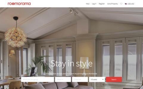 Screenshot of Home Page roomorama.com - Vacation Rentals, Short Term Holiday Homes & HomeStay - Roomorama - captured Dec. 14, 2015