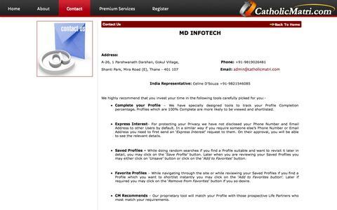 Screenshot of Contact Page catholicmatri.com - Contact Us | Catholic Matri - captured Sept. 23, 2014