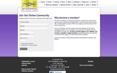 Screenshot of Signup Page artsfoundation.org - Arts Foundation of Cape Cod - captured Oct. 4, 2014