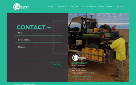 Screenshot of Contact Page gbenergy.com.au - Contact | GB Energy Limited - captured July 8, 2017