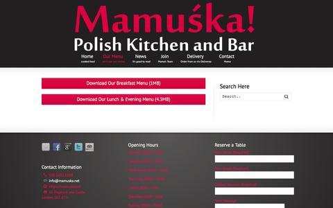 Screenshot of Menu Page mamuska.net - Menu | Mamuśka! – Polish Restaurant & Bar - captured Feb. 4, 2016