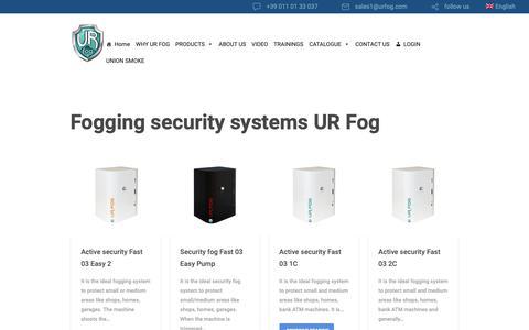 Screenshot of Products Page urfog.com - Fogging security systems UR Fog - UR Fog s.r.l - captured Oct. 2, 2018