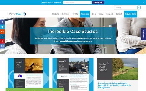 Screenshot of Case Studies Page recordpoint.com - Records Management Case Study | RecordPoint Software - captured Nov. 7, 2018
