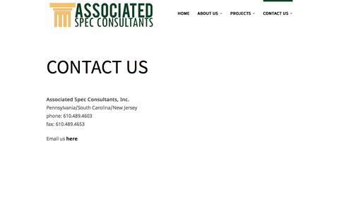 Screenshot of Contact Page spec-consultants.com - Contact Us | Spec Consultant - captured Sept. 25, 2016