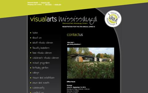 Screenshot of Contact Page visualartsmississauga.com - Contact Us - captured Oct. 26, 2014