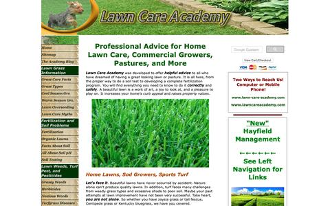 Screenshot of Home Page lawn-care-academy.com - Complete Lawn Care advice- Lawn Care Tips, Zoysia, Fescue, overseeding lawns, - captured Nov. 28, 2018