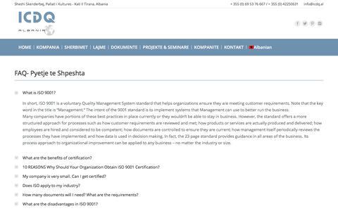 Screenshot of FAQ Page icdq.al - FAQ – ICDQ Albania - captured July 8, 2017