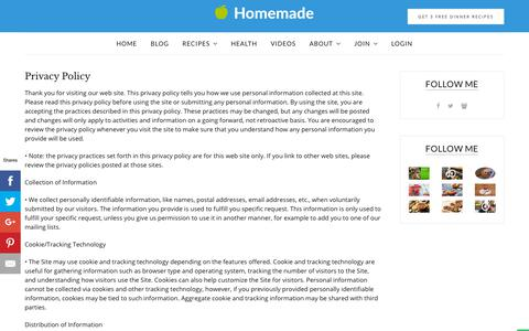 Screenshot of Privacy Page homemade-cooking.com - Privacy Policy - Homemade Method - captured Sept. 29, 2018