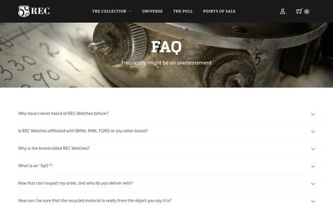 Screenshot of FAQ Page recwatches.com - FAQ – REC Watches - captured Aug. 12, 2016