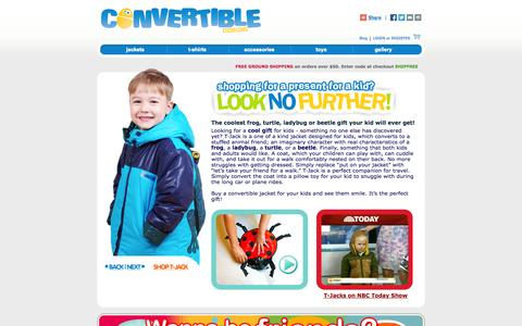 Screenshot of Testimonials Page convertibledesigns.com - Gifts for Kids - Buy Convertible Jacket for your Child. Pick from Frog Turtle Ladybug Beetle - captured Oct. 27, 2014