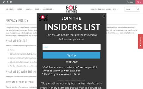 Screenshot of Privacy Page golfanything.com - Privacy Policy - Golf Anything US - captured Sept. 29, 2018