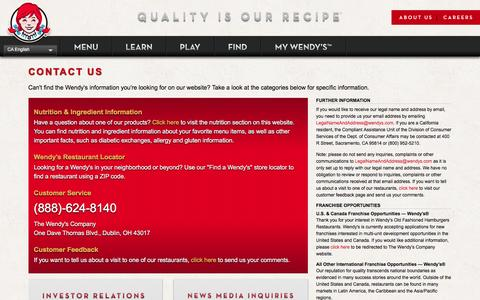 Screenshot of Contact Page wendys.com - Contact Wendy's: Telephone, Address and Electronic Form - Wendy's - captured Nov. 25, 2016