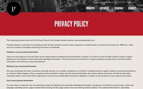 Screenshot of Privacy Page portablestudios.com.au - Privacy Policy - Portable Studios - captured Sept. 30, 2014