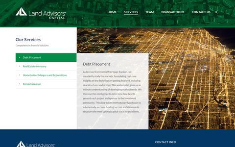 Screenshot of Services Page landadvisorscapital.com - Land Advisors Capital - Comprehensive financial solutions - captured Sept. 27, 2018