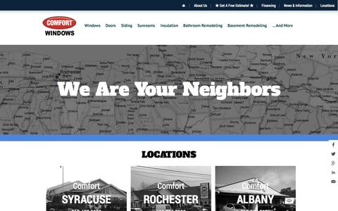 Screenshot of Contact Page Locations Page comfortwindows.com - Comfort Windows New York Locations - Buffalo, Albany, Syracuse, Rochester, Ithaca - captured Oct. 22, 2014