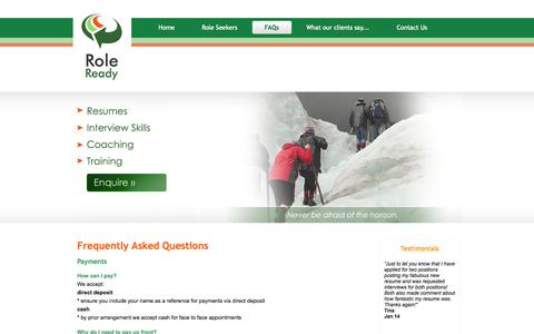 Screenshot of FAQ Page roleready.com.au - Role Ready - Career Services - FAQs - captured Oct. 7, 2014